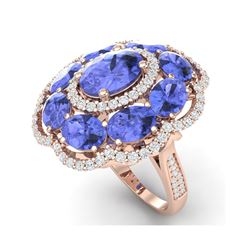 15.24 ctw Tanzanite & VS Diamond Ring 18K Rose Gold