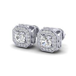 2.75 ctw VS/SI Diamond Solitaire Art Deco Stud Earrings 18K White Gold