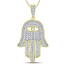 10kt Yellow Gold Mens Round Diamond Eye of Fatima Hamsa Hand Charm Pendant 1/2 Cttw