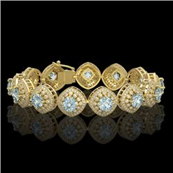 32.95 ctw Aquamarine & Diamond Victorian Bracelet 14K Yellow Gold