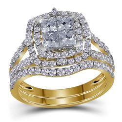 14kt Yellow Gold Princess Diamond Bridal Wedding Engagement Ring Band Set 1-1/2 Cttw