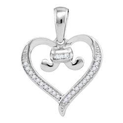 10kt White Gold Diamond Bound Tied Heart Pendant 1/12 Cttw