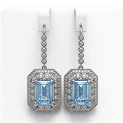 24.81 ctw Sky Topaz & Diamond Victorian Earrings 14K White Gold
