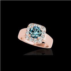 1.55 ctw SI Certified Fancy Blue Diamond Halo Ring 10K Rose Gold