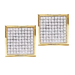 14kt Yellow Gold Round Pave-set Diamond Square Cluster Earrings 7/8 Cttw