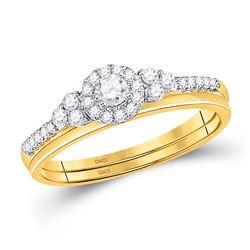 10k Yellow Gold Round Diamond Slender Wedding Bridal Engagement Ring Band Set 1/3 Cttw