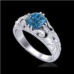 1 ctw Intense Blue Diamond Engagement Art Deco Ring 18K White Gold