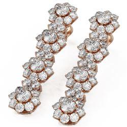 8.24 ctw Diamond Designer Earrings 18K Rose Gold