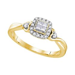 10kt Yellow Gold Princess Diamond Square Cluster Ring 1/5 Cttw