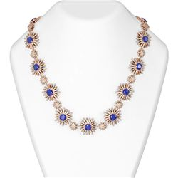46.03 ctw Sapphire & Diamond Necklace 18K Rose Gold