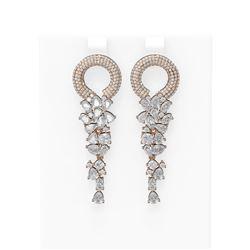 12.7 ctw Diamond Earrings 18K Rose Gold
