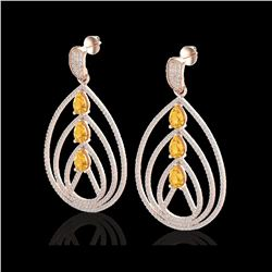 4 ctw Citrine & Micro Pave VS/SI Diamond Earrings 14K Rose Gold