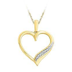 10kt Yellow Gold Round Diamond Heart Outline Pendant 1/20 Cttw
