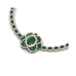 47.43 ctw Emerald & VS Diamond Necklace 18K Rose Gold