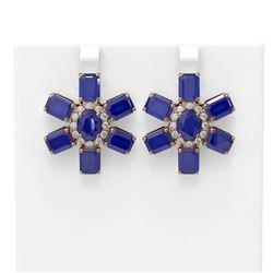 35.99 ctw Sapphire & Diamond Earrings 18K Rose Gold