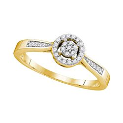 10kt Yellow Gold Round Diamond Cluster Bridal Wedding Engagement Ring 1/8 Cttw