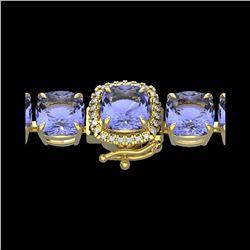 40 ctw Tanzanite & Micro VS/SI Diamond Bracelet 14K Yellow Gold