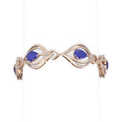 22.03 ctw Sapphire & Diamond Bracelet 18K Rose Gold