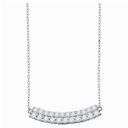 14kt White Gold Round Diamond Curved Double Row Bar Necklace 1.00 Cttw