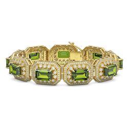 58.5 ctw Tourmaline & Diamond Victorian Bracelet 14K Yellow Gold