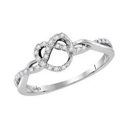 10kt White Gold Round Diamond Heart Pretzel Ring 1/8 Cttw