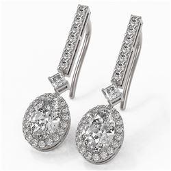 2.4 ctw Oval Cut Diamond Designer Earrings 18K White Gold