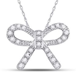 10kt White Gold Round Diamond Knot Bow Pendant Necklace 1/10 Cttw