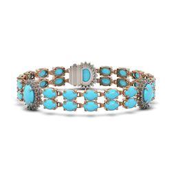 24.67 ctw Turquoise & Diamond Bracelet 14K Rose Gold