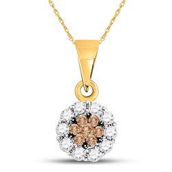 14k Yellow Gold Brown Flower Cluster Diamond Pendant 1/4 Cttw