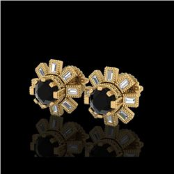 1.77 ctw Fancy Black Diamond Art Deco Stud Earrings 18K Yellow Gold