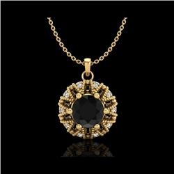 1.2 ctw Fancy Black Diamond Art Deco Micro Pave Necklace 18K Yellow Gold
