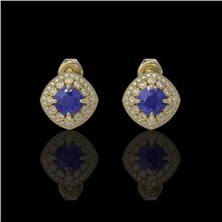 4.99 ctw Certified Sapphire & Diamond Victorian Earrings 14K Yellow Gold