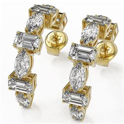 4.16 ctw Emerald Cut Diamond Designer Earrings 18K Yellow Gold