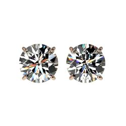 1.94 ctw Certified Quality Diamond Stud Earrings 10K Rose Gold