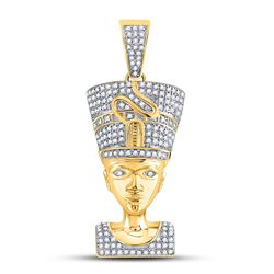 10kt Yellow Gold Mens Round Diamond Nefertiti Pharaoh Charm Pendant 5/8 Cttw