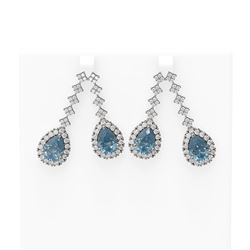 11.25 ctw Blue Topaz & Diamond Earrings 18K White Gold