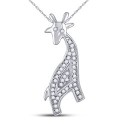 10kt White Gold Round Diamond Giraffe Animal Pendant 1/10 Cttw