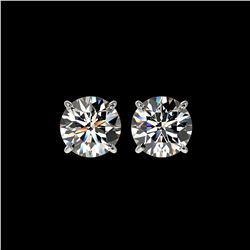 3.05 ctw Certified Diamond Stud Earrings 10K White Gold
