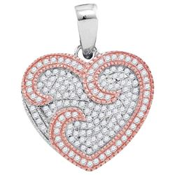 10kt Two-tone Rose Gold Round Diamond Heart Pendant 1/3 Cttw