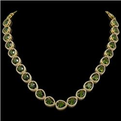41.6 ctw Tourmaline & Diamond Micro Pave Halo Necklace 10K Yellow Gold