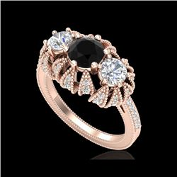 2.26 ctw Fancy Black Diamond Art Deco Micro Pave Ring 18K Rose Gold