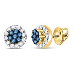 10kt Yellow Gold Round Blue Color Enhanced Diamond Flower Cluster Earrings 1/2 Cttw