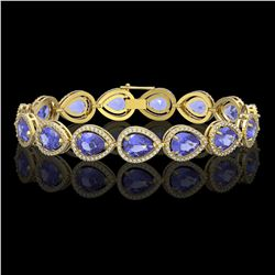 21.06 ctw Tanzanite & Diamond Micro Pave Halo Bracelet 10K Yellow Gold