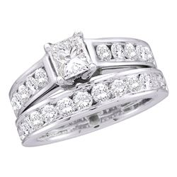 14kt White Gold Princess Diamond Solitaire Bridal Wedding Engagement Ring Band Set 1.00 Cttw