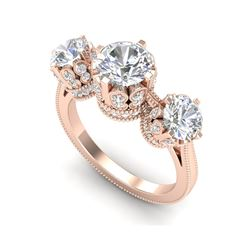 3.06 ctw VS/SI Diamond Solitaire Art Deco 3 Stone Ring 18K Rose Gold