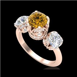 3 ctw Intense Yellow Diamond Art Deco 3 Stone Ring 18K Rose Gold