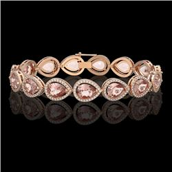 19.55 ctw Morganite & Diamond Micro Pave Halo Bracelet 10K Rose Gold