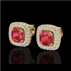 2.16 ctw Ruby & Micro VS/SI Diamond Earrings Halo 18K Yellow Gold