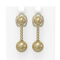 0.63 ctw Diamond and Pearl Earrings 18K Yellow Gold