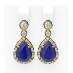 3.1 ctw Sapphire & Diamond Earrings 18K Yellow Gold
